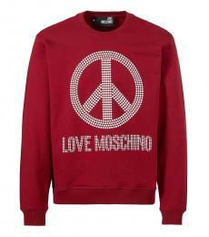 Love Moschino Maroon Studded Logo Sweatshirt
