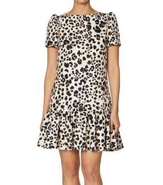 Betsey Johnson Black Multi-Leopard-Print Flounce Mini Dress