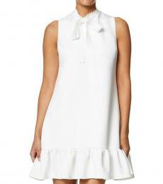 Betsey Johnson White Petite Tie Neck Shift Dress