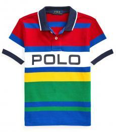Ralph Lauren Little Boys Red Striped Mesh Polo