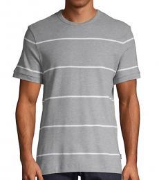 Hugo Boss Grey Tiburt Striped T-Shirt