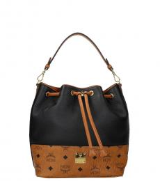 MCM Black Cmael Monogram Small Bucket Bag