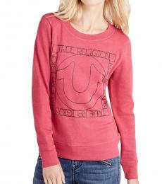 True Religion Raspberry Squared Logo Sweatshirt