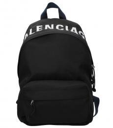 Balenciaga Black Top Logo Large Backpack