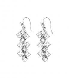 Ralph Lauren Silver Glittering Cluster Drop Earrings