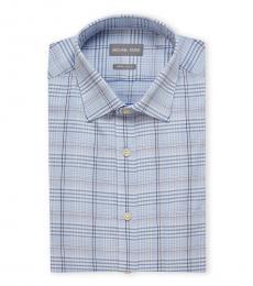 Michael Kors Blue Regular Fit Plaid Dress Shirt