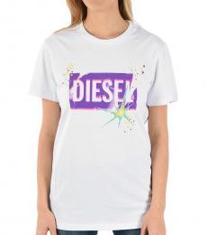 Diesel White Crew Neck Logo Tee
