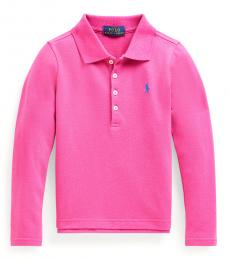 Ralph Lauren Little Girls College Pink Stretch Mesh Long-Sleeve Polo