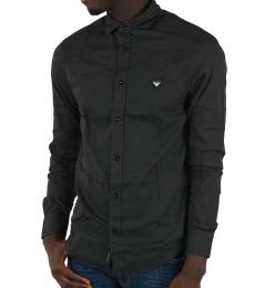 Armani Jeans Black Custom Fit Oxford Shirt