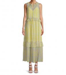 Diane Von Furstenberg Light Yellow Ruffled Maxi Dress