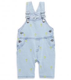 Stella McCartney Baby Girls Blue Embroidered Overalls
