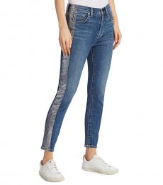 7 For All Mankind Blue High-Rise Foil Stripe Skinny Jeans