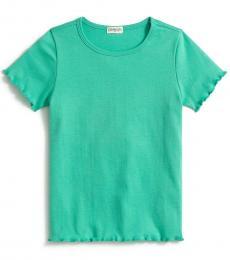 J.Crew Girls Venetian Green Lettuce-Edge T-Shirt