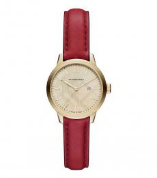 Burberry Red Classic Gold Dial Watch