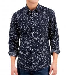 Michael Kors Navy Blue Geometric-Print Stretch Shirt