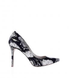 BCBGMaxazria Black White Snake Print Leather Heels