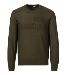 Love Moschino Olive Embossed Logo Sweater