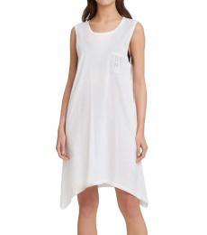 DKNY Soft White Mesh Back Tunic Logo Dress