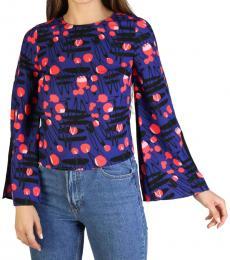 Armani Exchange Blue Round Neck Graphic Pullover