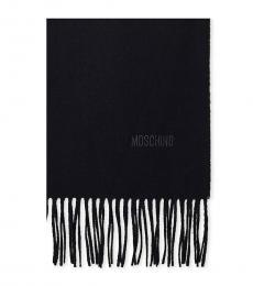 Moschino Black Logo Fringe Scarf