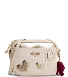 Love Moschino White Hearts Small Crossbody