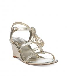 Ralph Lauren Silver Elina Leather Wedges
