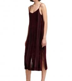 DKNY Red Striped Velour Slip Dress