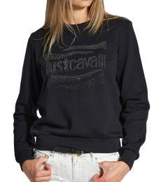 Just Cavalli Black Crew Neck Logo Print Sweatshirt