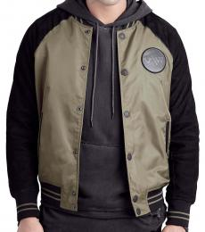 True Religion Olive Raglan Nylon Leather Jacket