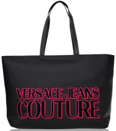 Versace Jeans Black Front Logo Large Tote
