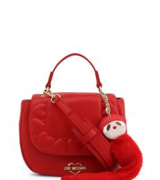 Love Moschino Red Embossed Heart Small Satchel