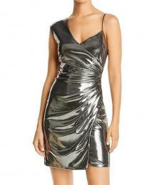 BCBGMaxazria Gunmetal Metallic Mini Party Dress