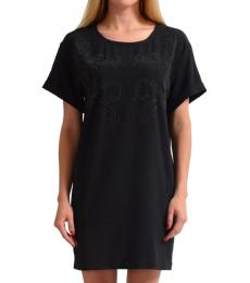 Black Beads Decorated Shift Dress