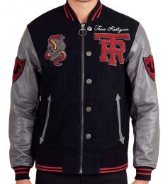 True Religion Black Logo Patch Leather Jacket