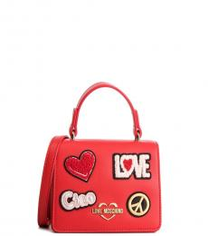 Love Moschino Red Patches Mini Crossbody