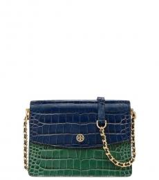 Tory Burch Blue Green Parker Small Shoulder Bag