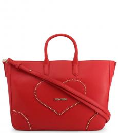 Love Moschino Red Studded Heart Large Satchel