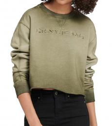 DKNY Army Green Cropped Ombre Logo Sweatshirt
