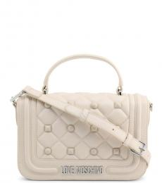 Love Moschino White Studded Small Satchel