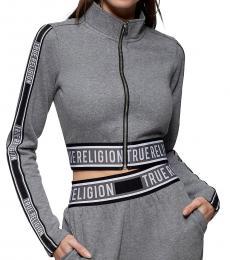 True Religion Heather Charcoal Logo Zip Crop Jacket