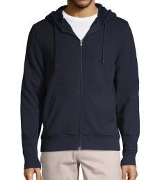 Michael Kors Navy Blue Faux Fur Hoodie Jacket