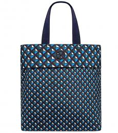 Tory Burch Navy Packable Geo Large Tote