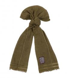Moschino Green Checkered Scarf