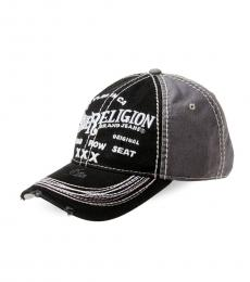 True Religion Black Distressed Embroidered Baseball Cap