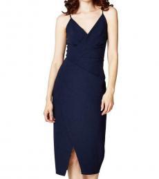 Betsey Johnson Navy Faux Wrap Midi Dress