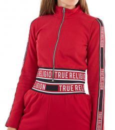 True Religion Ruby Red Logo Zip Crop Sweatshirt