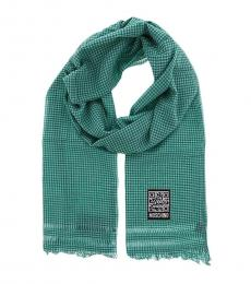 Green-White Checkered Scarf