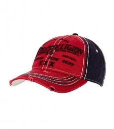 True Religion Red Distressed Embroidered Baseball Cap