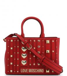 Love Moschino Red Metal Studs Large Satchel