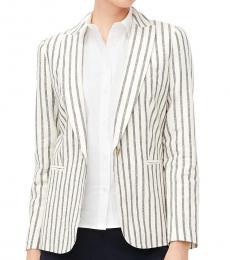 J.Crew Navy Striped Linen-Cotton Holland Blazer
